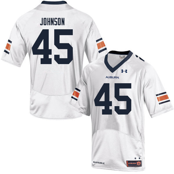 Men #45 Caleb Johnson Auburn Tigers College Football Jerseys Sale-White