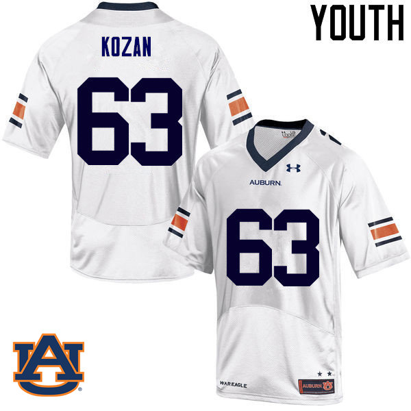 Youth Auburn Tigers #63 Alex Kozan College Football Jerseys Sale-White