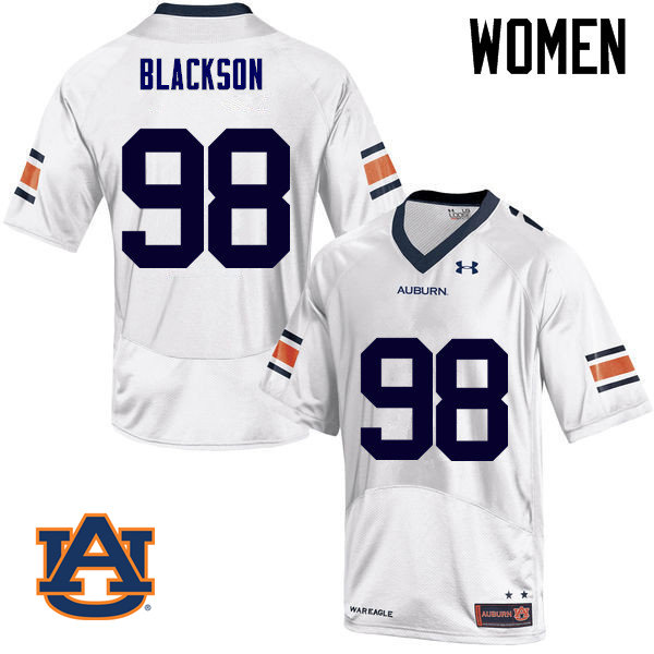 Women Auburn Tigers #98 Angelo Blackson College Football Jerseys Sale-White