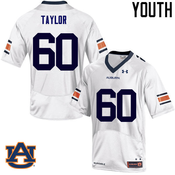 Youth Auburn Tigers #60 Bill Taylor College Football Jerseys Sale-White