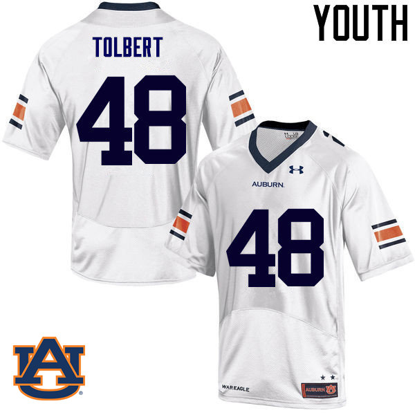 Youth Auburn Tigers #48 C.J. Tolbert College Football Jerseys Sale-White