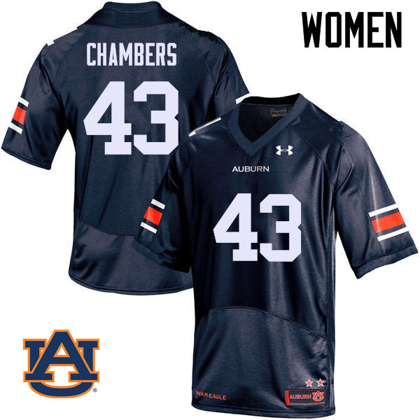 Women Auburn Tigers #43 Cedric Chambers College Football Jerseys Sale-Navy