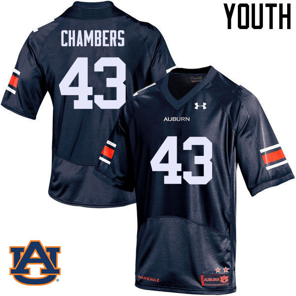 Youth Auburn Tigers #43 Cedric Chambers College Football Jerseys Sale-Navy