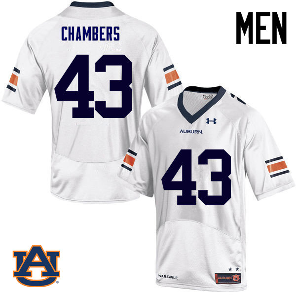 Men Auburn Tigers #43 Cedric Chambers College Football Jerseys Sale-White