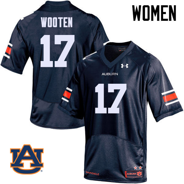 Women Auburn Tigers #17 Chandler Wooten College Football Jerseys Sale-Navy