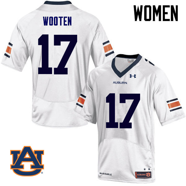 Women Auburn Tigers #17 Chandler Wooten College Football Jerseys Sale-White