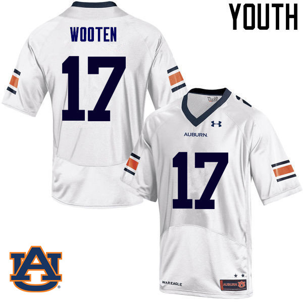 Youth Auburn Tigers #17 Chandler Wooten College Football Jerseys Sale-White