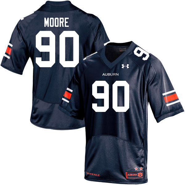 Men #90 Charles Moore Auburn Tigers College Football Jerseys Sale-Navy