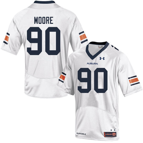 Men #90 Charles Moore Auburn Tigers College Football Jerseys Sale-White