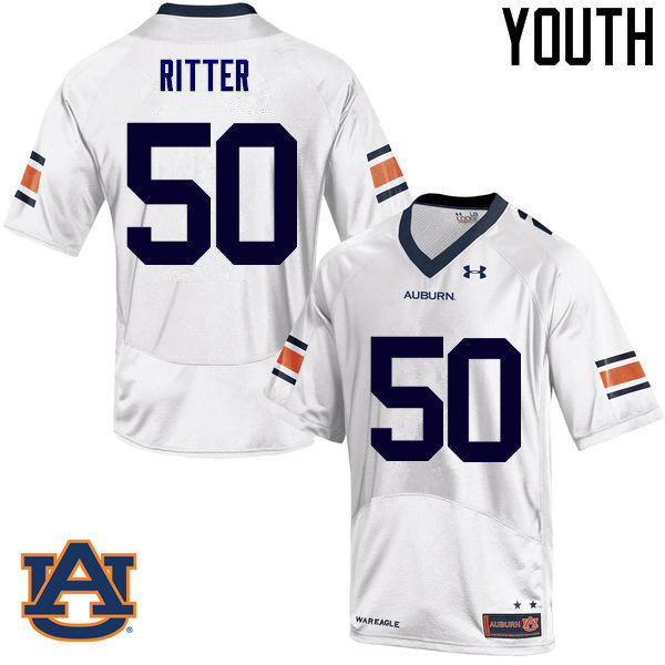 Youth Auburn Tigers #50 Chase Ritter College Football Jerseys Sale-White