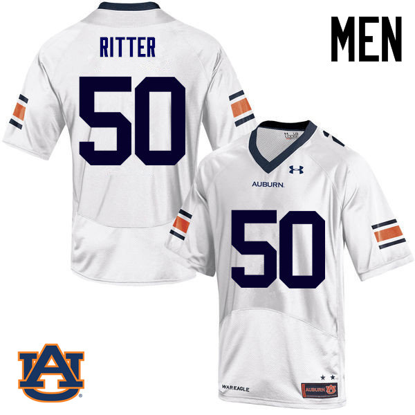 Men Auburn Tigers #50 Chase Ritter College Football Jerseys Sale-White
