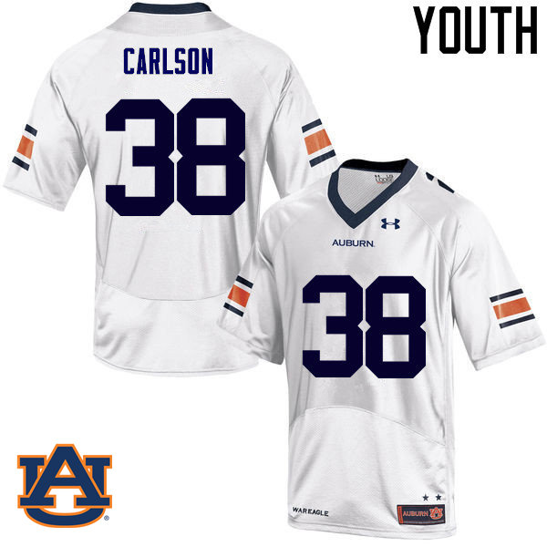 Youth Auburn Tigers #38 Daniel Carlson College Football Jerseys Sale-White