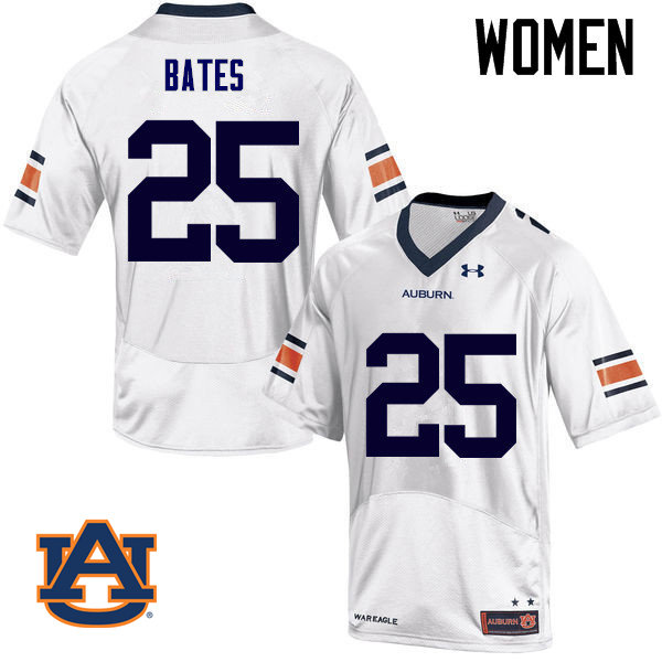Women Auburn Tigers #25 Daren Bates College Football Jerseys Sale-White