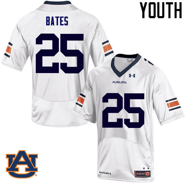 Youth Auburn Tigers #25 Daren Bates College Football Jerseys Sale-White