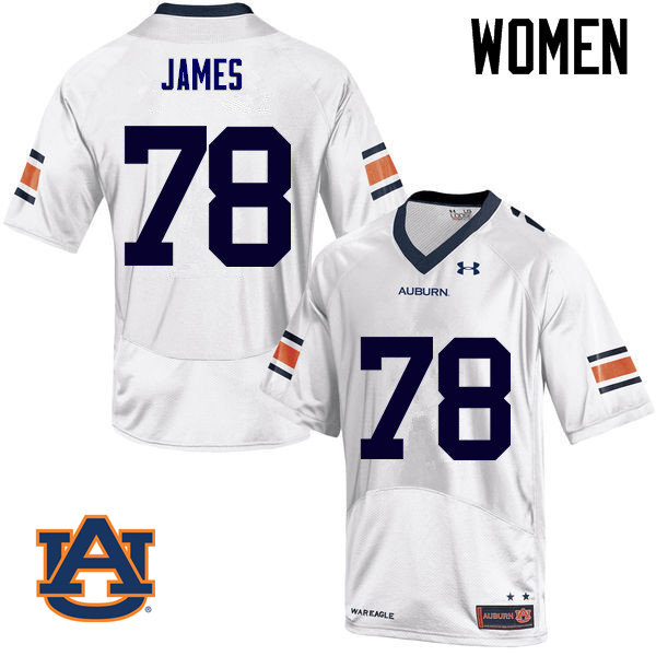 Women Auburn Tigers #78 Darius James College Football Jerseys Sale-White