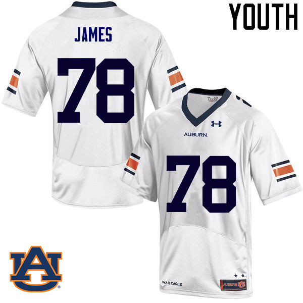 Youth Auburn Tigers #78 Darius James College Football Jerseys Sale-White