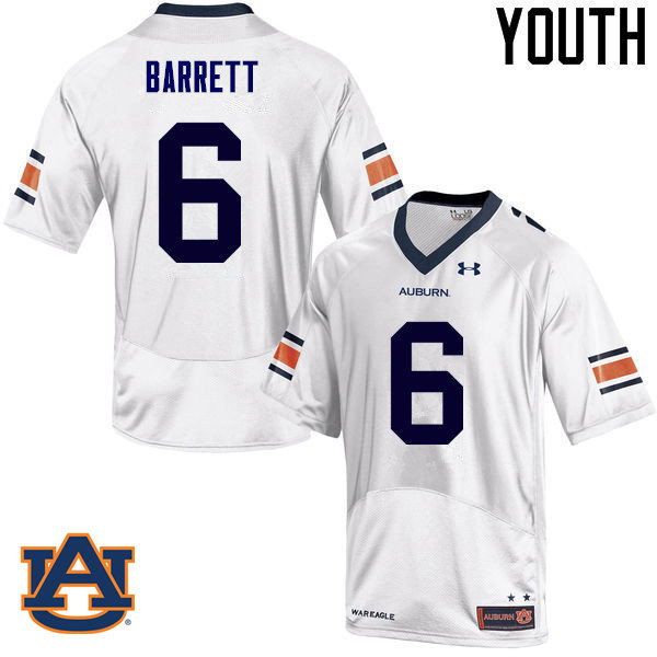 Youth Auburn Tigers #6 Devan Barrett College Football Jerseys Sale-White