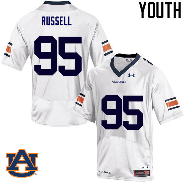 Youth Auburn Tigers #95 Dontavius Russell College Football Jerseys Sale-White
