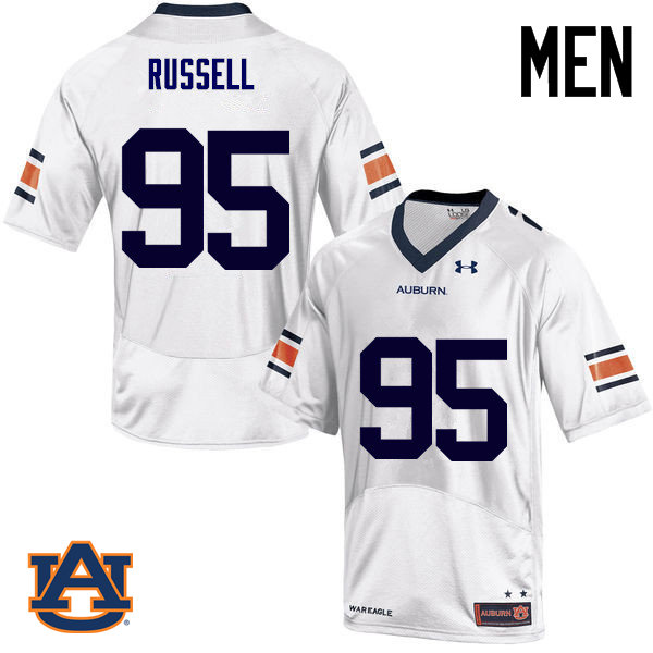 Men Auburn Tigers #95 Dontavius Russell College Football Jerseys Sale-White