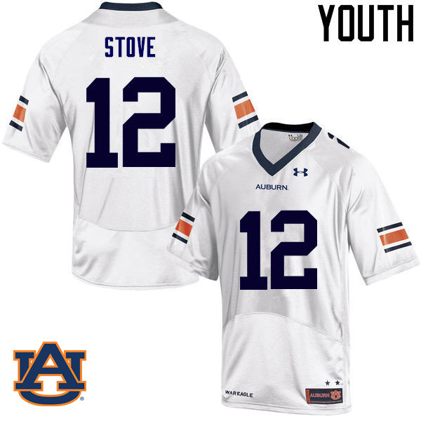 Youth Auburn Tigers #12 Eli Stove College Football Jerseys Sale-White