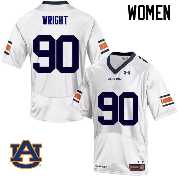 Women Auburn Tigers #90 Gabe Wright College Football Jerseys Sale-White