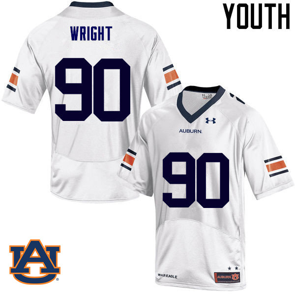 Youth Auburn Tigers #90 Gabe Wright College Football Jerseys Sale-White