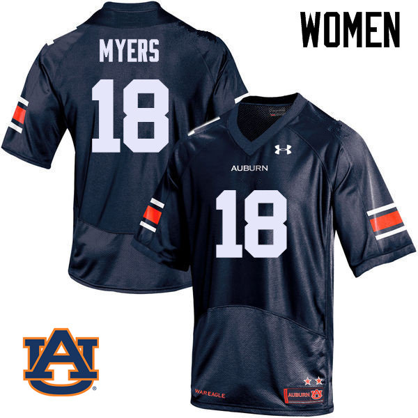 Women Auburn Tigers #18 Jayvaughn Myers College Football Jerseys Sale-Navy