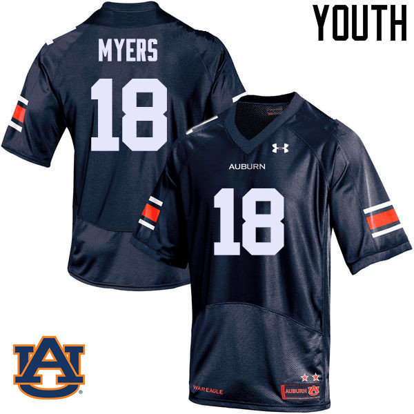 Youth Auburn Tigers #18 Jayvaughn Myers College Football Jerseys Sale-Navy
