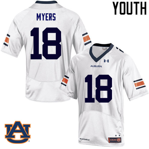 Youth Auburn Tigers #18 Jayvaughn Myers College Football Jerseys Sale-White