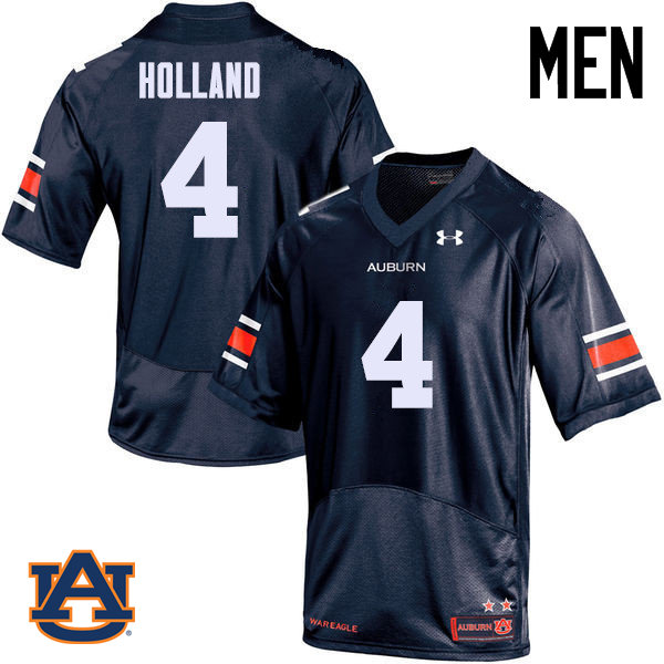 Men Auburn Tigers #4 Jeff Holland College Football Jerseys Sale-Navy