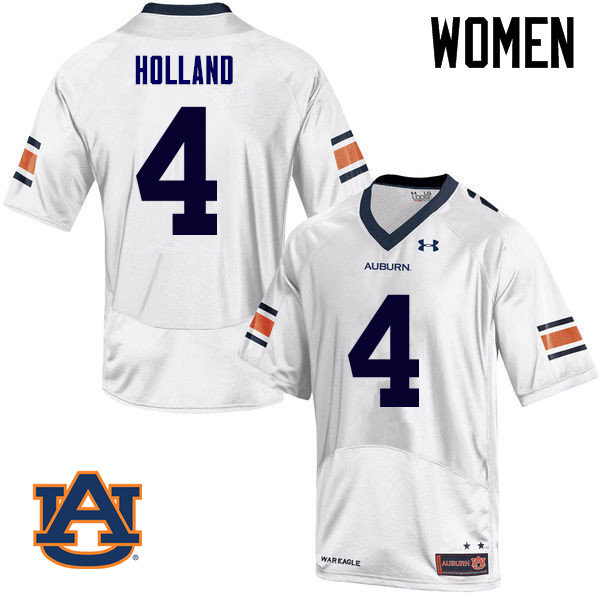 Women Auburn Tigers #4 Jeff Holland College Football Jerseys Sale-White