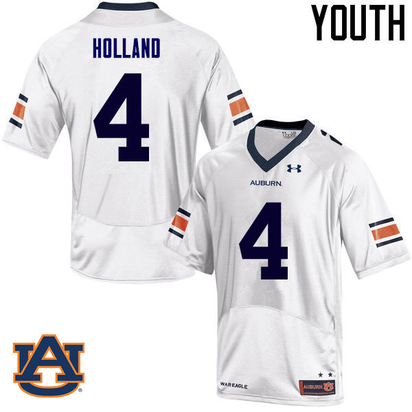 Youth Auburn Tigers #4 Jeff Holland College Football Jerseys Sale-White