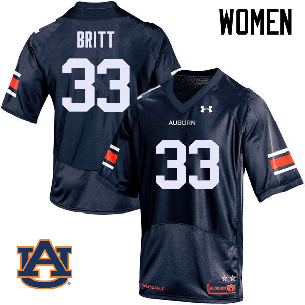 Women Auburn Tigers #33 K.J. Britt College Football Jerseys Sale-Navy