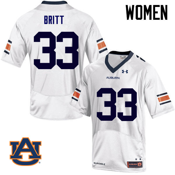 Women Auburn Tigers #33 K.J. Britt College Football Jerseys Sale-White