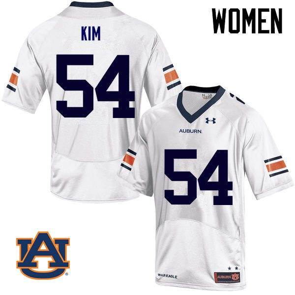 Women Auburn Tigers #54 Kaleb Kim College Football Jerseys Sale-White