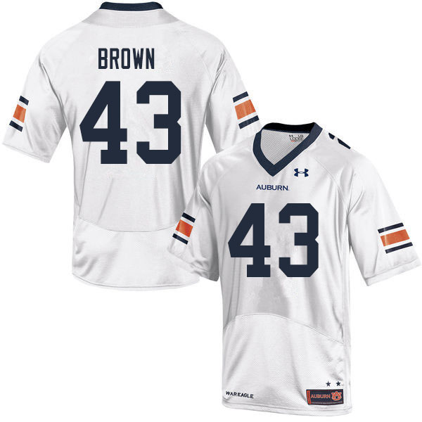 Men #43 Kameron Brown Auburn Tigers College Football Jerseys Sale-White