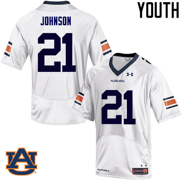 Youth Auburn Tigers #21 Kerryon Johnson College Football Jerseys Sale-White