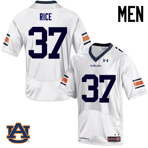 Men Auburn Tigers #37 Logan Rice College Football Jerseys Sale-White