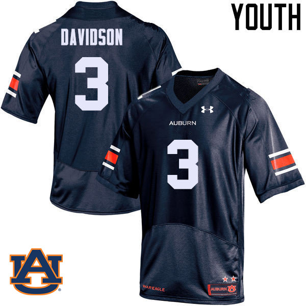 Youth Auburn Tigers #3 Marlon Davidson College Football Jerseys Sale-Navy
