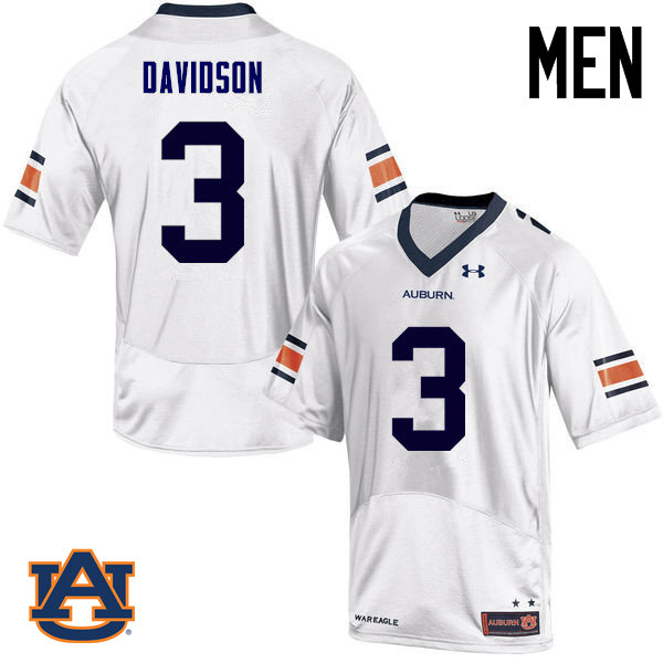 Men Auburn Tigers #3 Marlon Davidson College Football Jerseys Sale-White