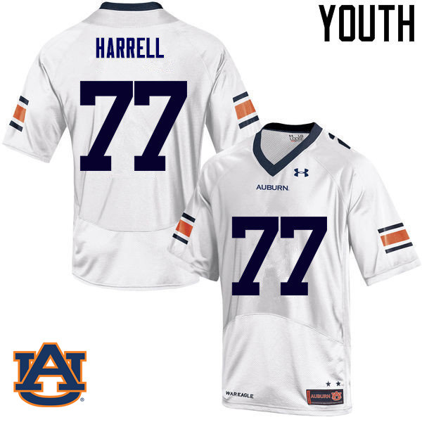 Youth Auburn Tigers #77 Marquel Harrell College Football Jerseys Sale-White