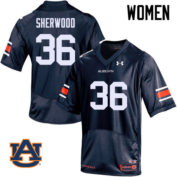 Women Auburn Tigers #36 Michael Sherwood College Football Jerseys Sale-Navy