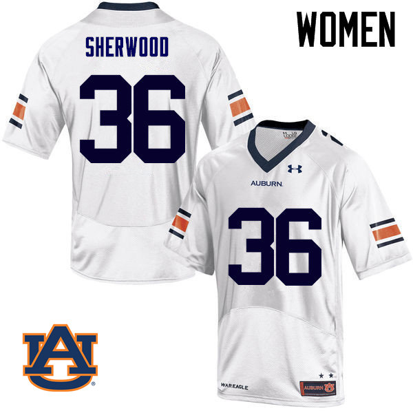 Women Auburn Tigers #36 Michael Sherwood College Football Jerseys Sale-White