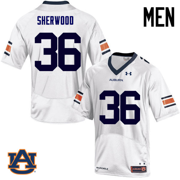 Men Auburn Tigers #36 Michael Sherwood College Football Jerseys Sale-White