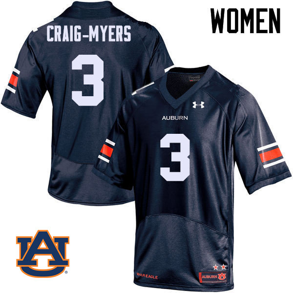 Women Auburn Tigers #3 Nate Craig-Myers College Football Jerseys Sale-Navy