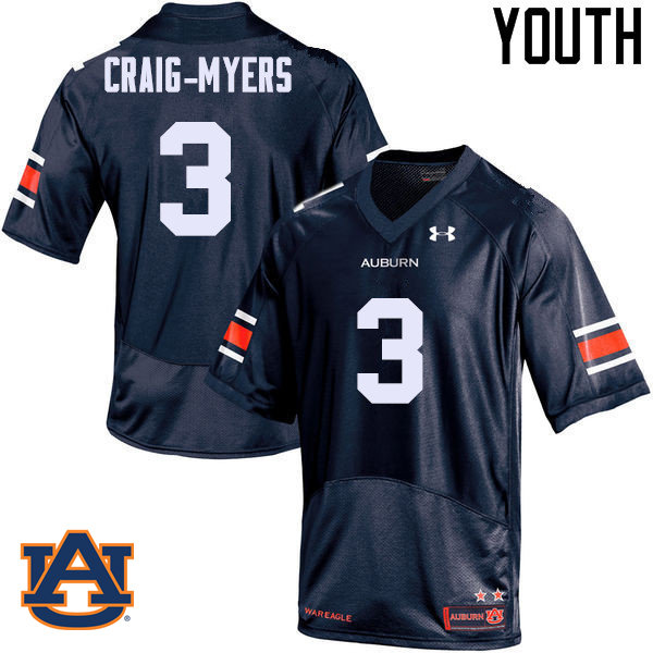 Youth Auburn Tigers #3 Nate Craig-Myers College Football Jerseys Sale-Navy