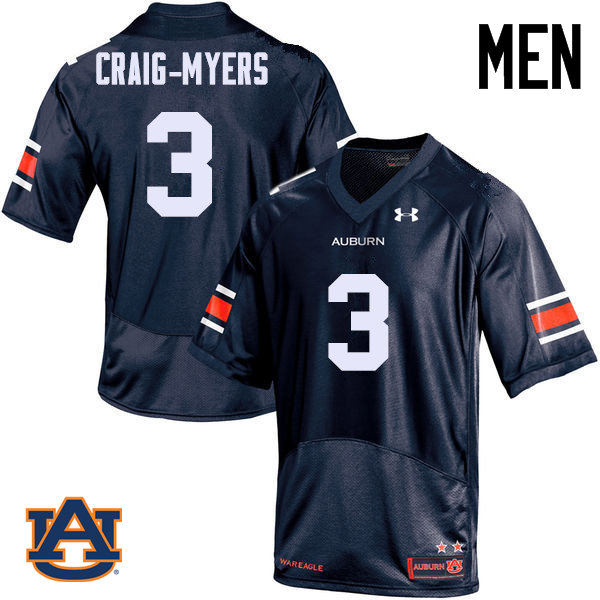 Men Auburn Tigers #3 Nate Craig-Myers College Football Jerseys Sale-Navy
