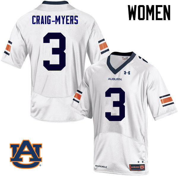 Women Auburn Tigers #3 Nate Craig-Myers College Football Jerseys Sale-White