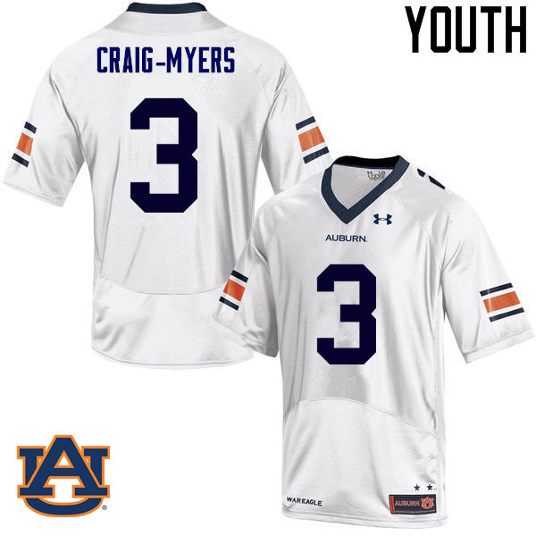 Youth Auburn Tigers #3 Nate Craig-Myers College Football Jerseys Sale-White