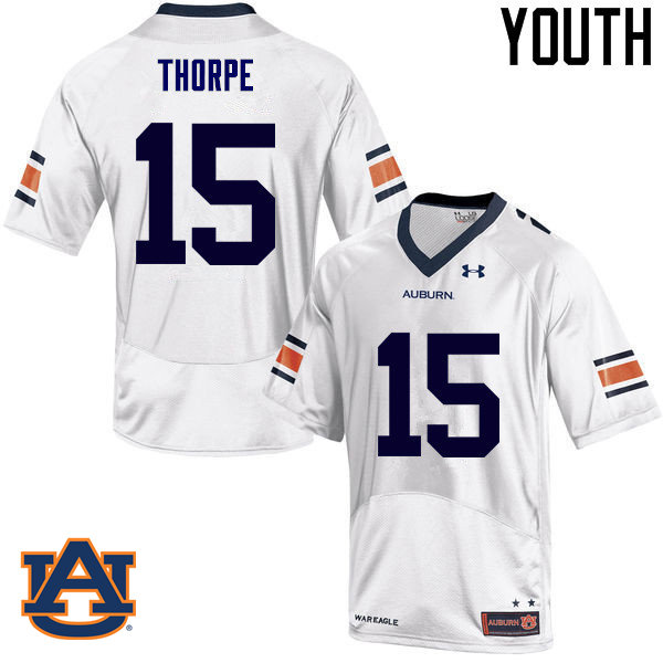 Youth Auburn Tigers #15 Neiko Thorpe College Football Jerseys Sale-White